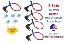 5 Set MICRO2 Fuse Taps Holder Add-A-Circuit 16 AWG Gauge Car Auto Truck +15 Amp