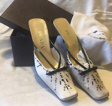 PRADA NEW Cream Silk Black Leather Bows Beads Sequins,Kitten,Rlt  629. SIZE  40!