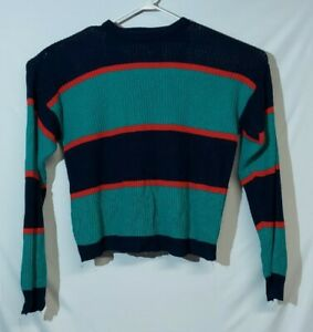 VTG 90s Wrangler Acrylic Sweater Knit Green/Red/Navy Blue Colorblock Womens L