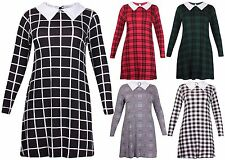 Collar Check Casual Plus Size Dresses for Women