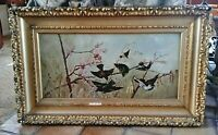 Antique Oil Painting Victorian Era Birds Swallows in a Landscape Gilt Frame O/C