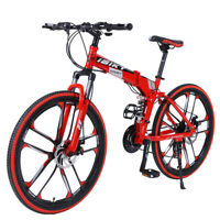 """26"""" 21 Speed Folding Mountain Bike Bicycle Full Suspension MTB Foldable Red"""