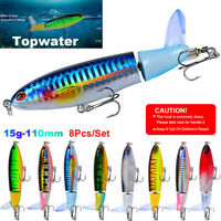 8Pcs Whopper Plopper Topwater Floating Fishing Lures Rotating Tail Top Crankbait