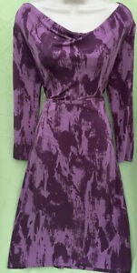 George Size 18 Purple Long Sleeves Scoop Neck Waist Band Fit Flare Dress