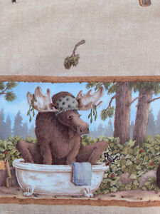 Jeffrey Severn Laughing Bear Art Curtain Valance Cabin Lodge Moose Bear Raccoon