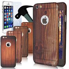 Full Cover Case für Apple iPhone Schutz Hülle mit Schutzglas Holz 360° Rundum