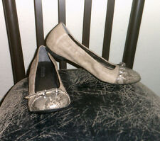 Chicos Brown/Snakeskin Toe Tip Faux Leather Sz 8 Dressy Buckle Accent Flats