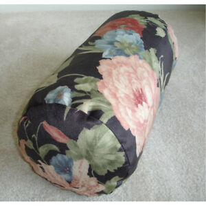 Bolster Cushion Cover Velvet Floral Lily Flowers Cylinder Round 8x18 Black Pink
