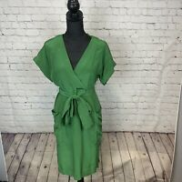 Anthropologie Maeve Size 2 Olive Green 100% Silk Button Up Wrap Dress With Belt
