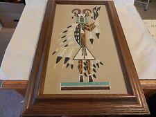 Colorful Framed Navajo Sand Art Hunchback of Whirling Log by Lorene Fragria