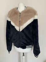 Womens Bomber Jacket Faux Fur Size Small Navy Blue Pink Chevron by BSB