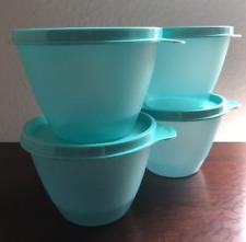 Tupperware Stacking Refrigerator Bowls Set with Seals Aqua Blue Brand New