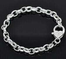 10 x New Silver Plated Link Chain Bracelet with Large Heart Lobster Clasp 20cm