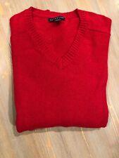 Lands End Merino Wool Blend Men's red Large Tall V Neck Sweater NWOT