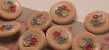 """3 Vintage Czech Glass Buttons Hand Painted Flowers Tan Multi Combo 11/16"""" 18mm"""