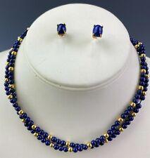 "14k Gold Blue Lapis Lazuli Gemstone Stud Earrings & 28"" Bead Necklace Set NR DMJ"