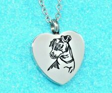 Jack Russell Urn Necklace, Dog Ashes Keepsake Jewelry, Engravable Heart Urn