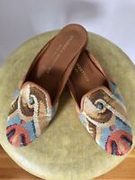 Stubbs And Wootton Shoes 6 1/2, Woven Brocade Slip On Slides Mules