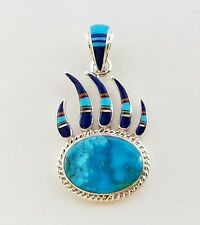 GENUINE TURQUOISE MULTICOLOR LAPIZ SPINY OPAL INLAY .925 SILVER BEAR PAW PENDANT
