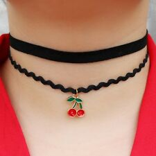 Cherry Choker Double Layer Necklace Fashion Gift Jewellery Sweet Birthday Girl