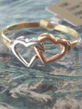 Hearts Multi Tone Gold Ring 10kt Solid Gold