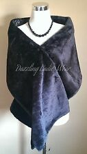 Black Faux Fur Shawl Satin Lining Wrap/Stole/Bolero/Tippet/Shrug/Jacket New
