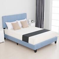 Modern Full Size Metal Bed Frame Platform Linen Upholstered w/Wood Slats Blue