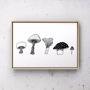A4 Mushrooms Art Print, Foraaging Wall Art, Minimalist Simple Home Decor