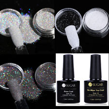 5pcs/Set Nail Art Glitter Powder 7.5ml Base Coat Top Coat UV Gel Polish Soak Off