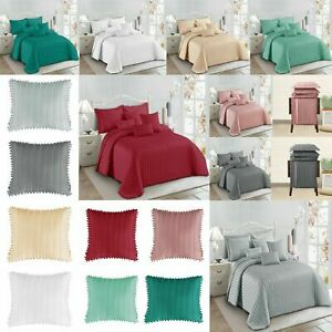 Bedspread Quilted Bed Throw Pom Pom Bedding Pillow Shams Single Double King Size
