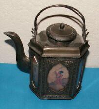 Chinese Hexagonal Teapot w/ Painted Glass Panes