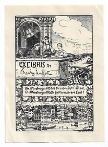 "ANTON MÜLLER: Exlibris für Franka Seuffert, ""Würzburger Mädle"""