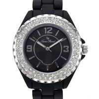 Lucien Piccard Women's Watch Black polycarbonate Case Bracelet Silver tone