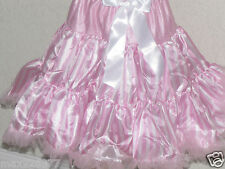 New Birthday Party dance tutu pettiskirt skirt stripes pink white 7-10 yrs L