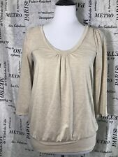 Old Navy Womens S Shirt Tan Gold Metallic 3/4 Sleeve Ruched Front Neckline 08/09