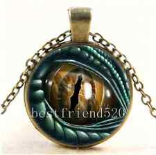 Vintage Dragon Eye Photo Cabochon Glass Bronze Chain Pendant  Necklace