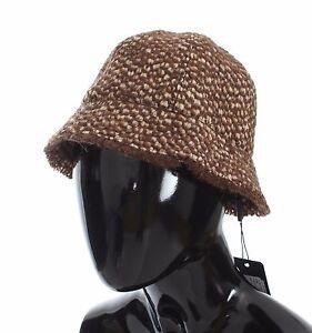 NEW DOLCE & GABBANA Hat Brown Woven Wool Blend Cloche Womens s. 57 / M