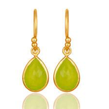 Handmade 18K Yellow Gold Plated Silver Green Chalcedony Dangle Earrings
