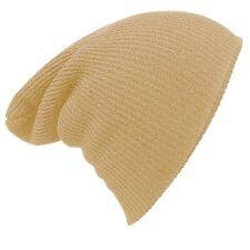 CLAIRANCE! Mélange de mens laine Stretch Slouch hiver Beanie chapeau Beige One Size