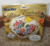BUCILLA RIBBON EMBROIDERY FLORAL DELIGHT POTPOURRI HEART KIT #41000~~NIP