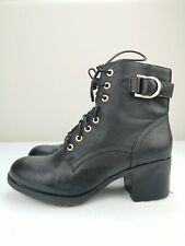 DOROTHY PERKINS Black Leather Ladies Ankle High Heel Shoe Boot Size 6 39