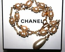 Vintage Chanel Necklace Glass Pearl w/Gold Plated Clear Crystal Rondelles & Drop
