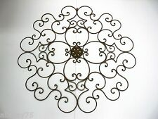 set of 2 XXL FRENCH WALL ART DECOR 1m diametre WROUGHT IRON MURAL  NEW black