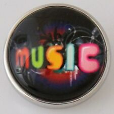 Colorful Music Glass Dome Pop It Snap In Noosa Style Metal Jewel Charm Button