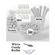 White Candy Buffet, Gum Balls, Sixlets, Lollipops, Rock Candy