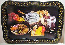 "2 Antique Vintage 18x13"" Metal Tin Coca Cola Party Food Serving TV Trays Black"