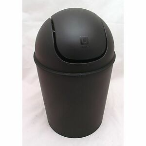 Contemporary Mat Black Polypropylene 1.5 Gallon Mini Swing Lid Trash Waste Can