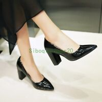 Womens Patent Leather Clubwear Shoes Pointy Toe Pumps Block High Heel Pull On sz