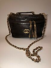 Vintage Brown Embossed Leather Top Handle Camera Case Chain Strap Crossbody Bag