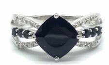 Sterling Silver Cushion Black Onyx Triple Split Curved Bow Cocktail Band Ring